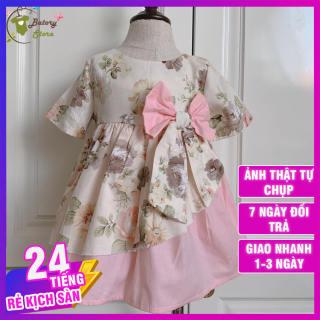Đầm bé gái [ 𝗙𝗥𝗘𝗘𝗦𝗛𝗜𝗣 ] Đầm công chúa, váy hoa trà phối hồng - Hàng thiết kế - Chất liệu thô lụa siêu mềm mát và an toàn cho bé - TẶNG KÈM TURBAN - BATORY Store