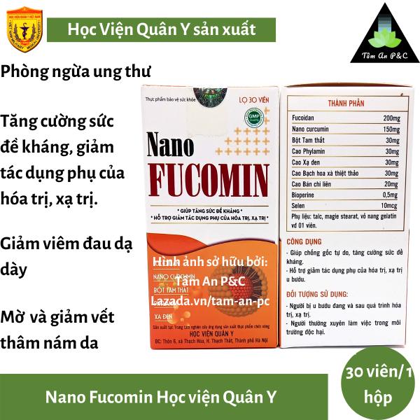 NANO FUCOMIN Học Viện Quân Y (hộp 30 viên) - Phòng ngừa và hỗ trợ điều trị Ung Thư cao cấp