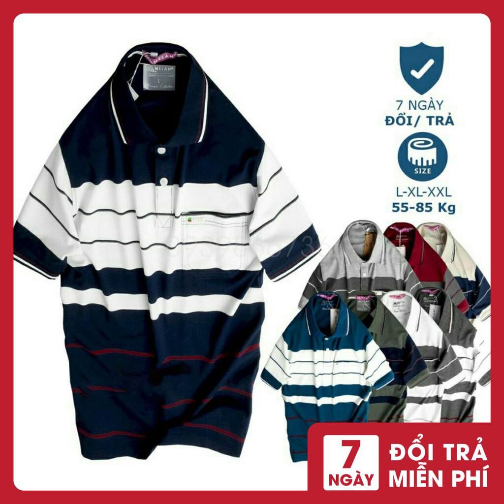 Áo Polo nam trung niên có túi phối sọc vải cá sấu Cotton xuất xịn,chuẩn form,sang trọng-lịch lãm - ⚡️ Hàng VNXK ⚡️áo thun nam trung niên