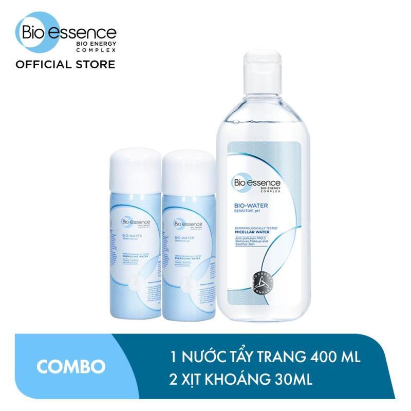 Bộ chăm sóc da Bio-Essence (Nước tẩy trang ẩm mượt Bio-Water Micellar Water 400ml + 2 Nước khoáng Bio-Water Energizing Water 30ml) cao cấp