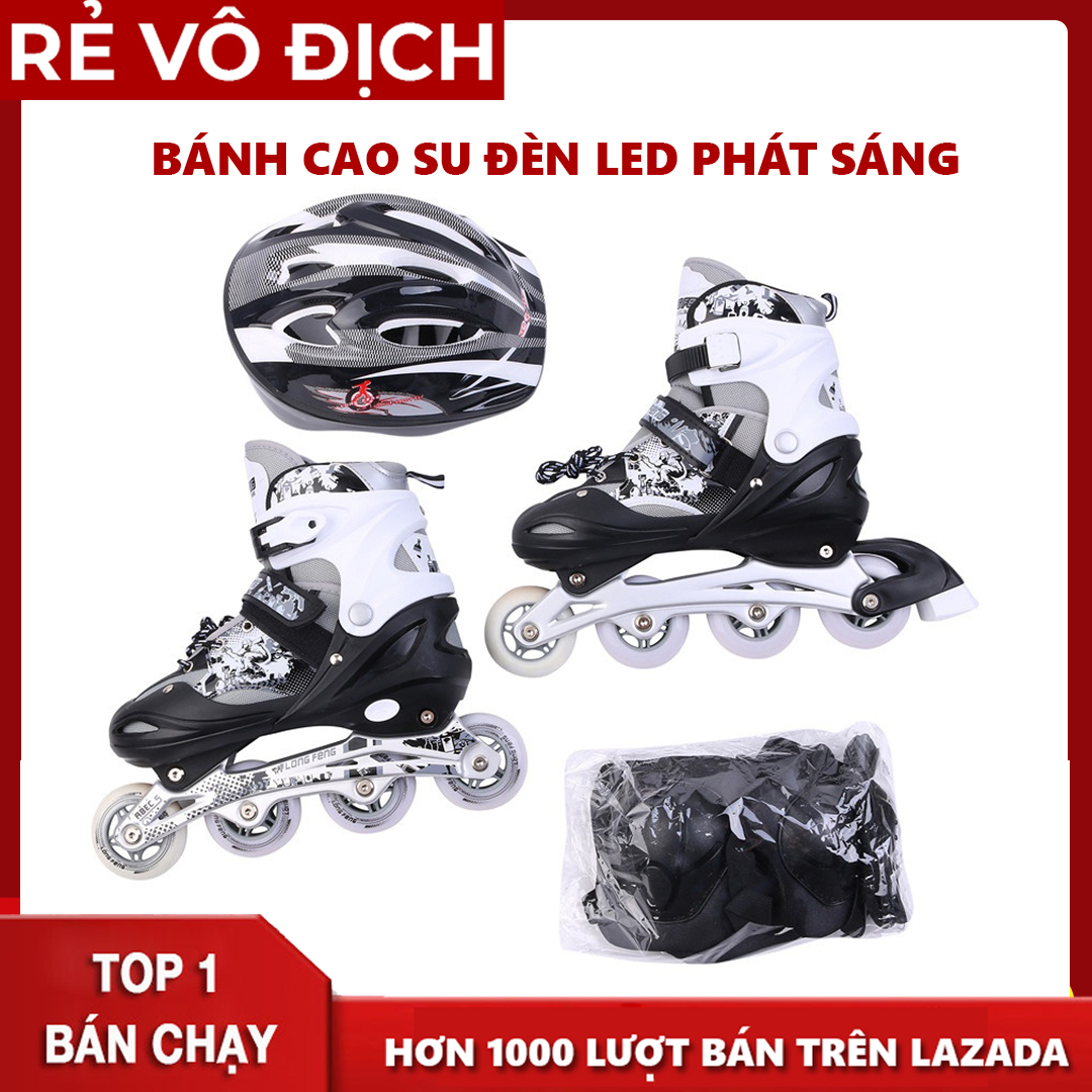 Mua Bộ giày patin Longfeng - Meadin trẻ em và người lớn đầy đủ bảo hộ chân tay và mũ chính hãng tặng kèm hộp vàn bộ ốc vít đủ