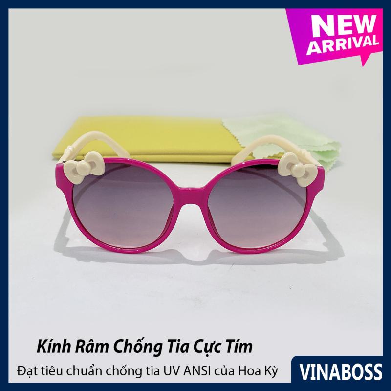 Giá bán Kính mát cao cấp chống tia UV dành cho bé gái siêu dễ thương VN6177 - Kính râm thời trang cho trẻ từ 1 tới 6 tuổi - Tặng kèm túi đựng + Khăn lau