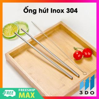 Ống Hút Inox 304 Kèm 1 Cọ Rửa và 1 Túi Đựng có thể tái sử dụng nhiều lần vệ sinh môi trường, ống hút, cọ rửa , ống hút inox 304 thumbnail