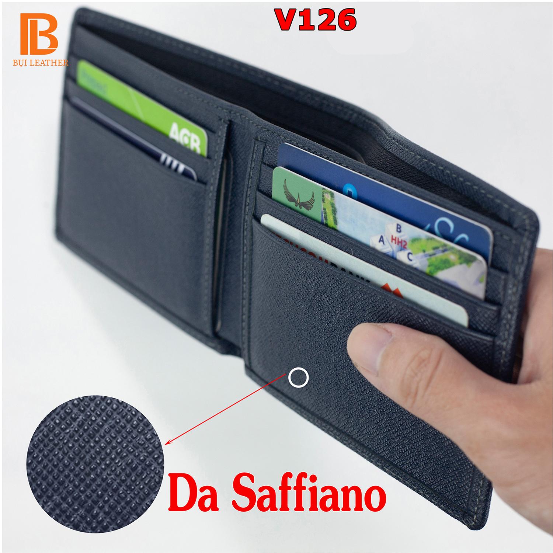 Ví nam da saffiano V126 cao cấp, bóp nam da bò thật nhiều ngăn chứa tiền chứa thẻ, dáng ngang có khóa kéo,2 màu đen và xanh navy,Fullbox hộp sang trọng làm quà tặng,thương hiệu Bụi leather chuyên đồ da thật,bảo hành 24 tháng