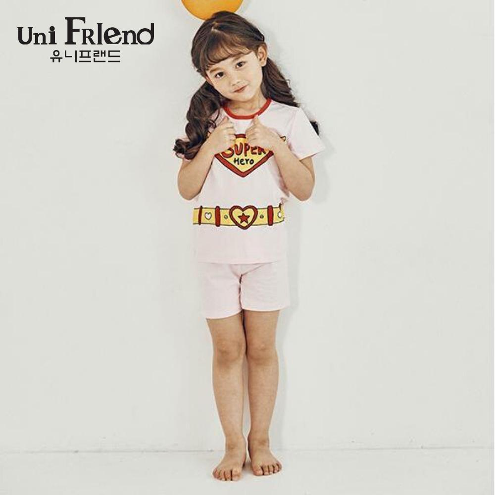 Giá bán Đồ bộ mặc nhà bé gái Unifriend thun ngắn họa tiết super U9SSTS05