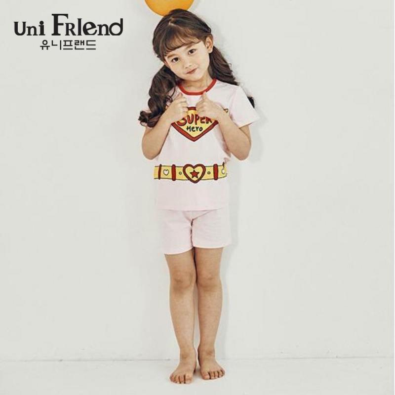 Nơi bán Đồ bộ mặc nhà bé gái Unifriend thun ngắn họa tiết super U9SSTS05