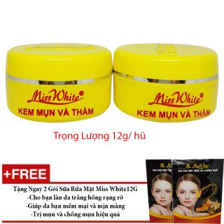 Combo 2 Kem Mụn Và Thâm Miss White 12g tặng kèm sữa rửa mặt( mẫu mới ) thumbnail