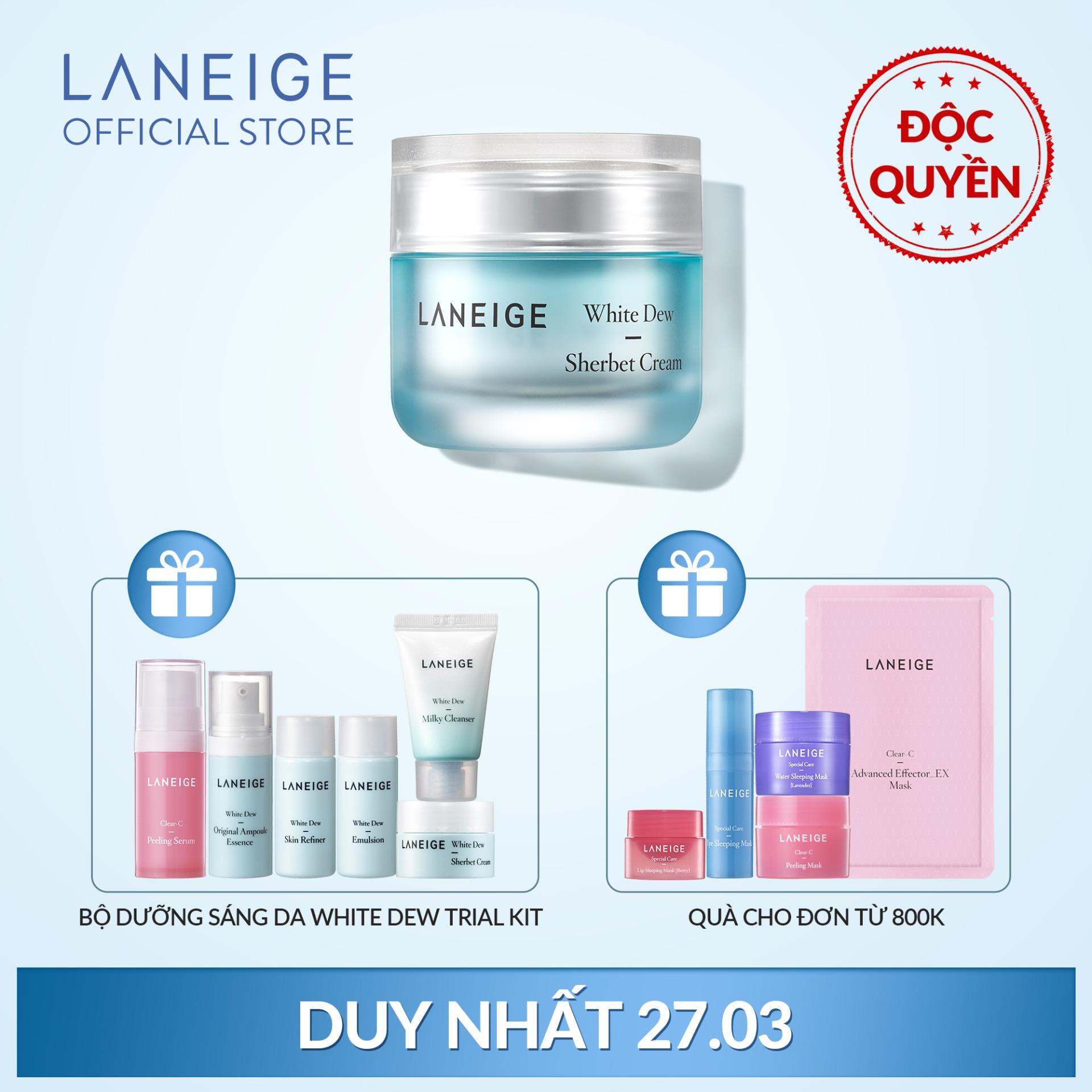 Kem dưỡng trắng da và dưỡng ẩm Laneige White Dew Sherbet Cream 50ml + Tặng Bộ Dưỡng trắng da White Dew Trial Kit nhập khẩu