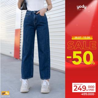 Quần Jean nữ ống rộng lưng cao 9 tấc chính hãng YODY - QJN4024 thumbnail