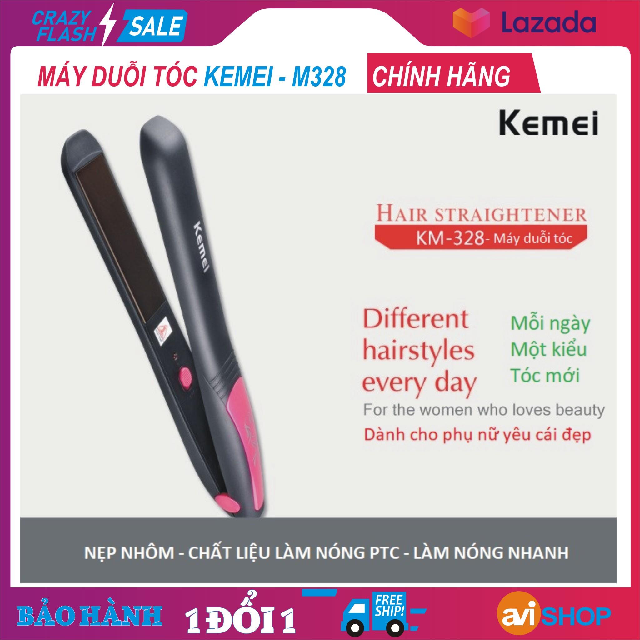 Máy kẹp tóc, là tóc, duỗi tóc Kemei Km-328, nhanh chóng và an toàn giúp bạn đẹp mỗi ngày, Hôm nay giá cực shock - aviSHOP cao cấp