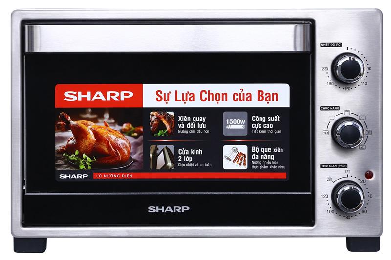 Lò nướng Sharp EO-A323RCSV-ST 32 lít-Lò nướng bánh có dung tích lớn 32 lít, công suất mạnh mẽ 1500 W. Chức năng nướng xiên quay, quạt đối lưu, nướng thực phẩm ngon. Cửa kính 2 lớp, có đèn chiếu sáng bên trong và 8 phụ kiện kèm