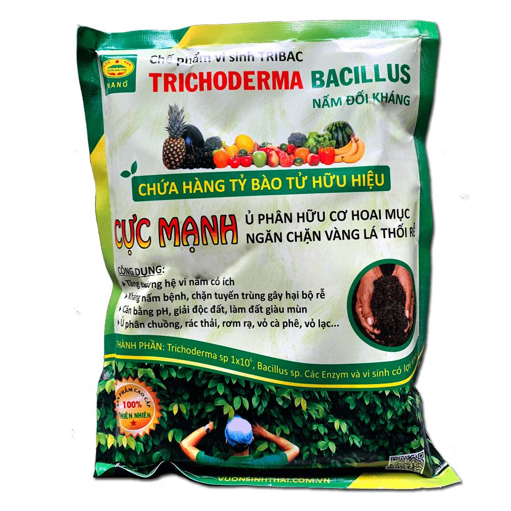 Nấm đối kháng Trichoderma Bacillus cực mạnh. Chế phẩm vi sinh TRIBAC. Ủ phân chuồng hoai mục. Ngăn chặn vàng lá thối rễ
