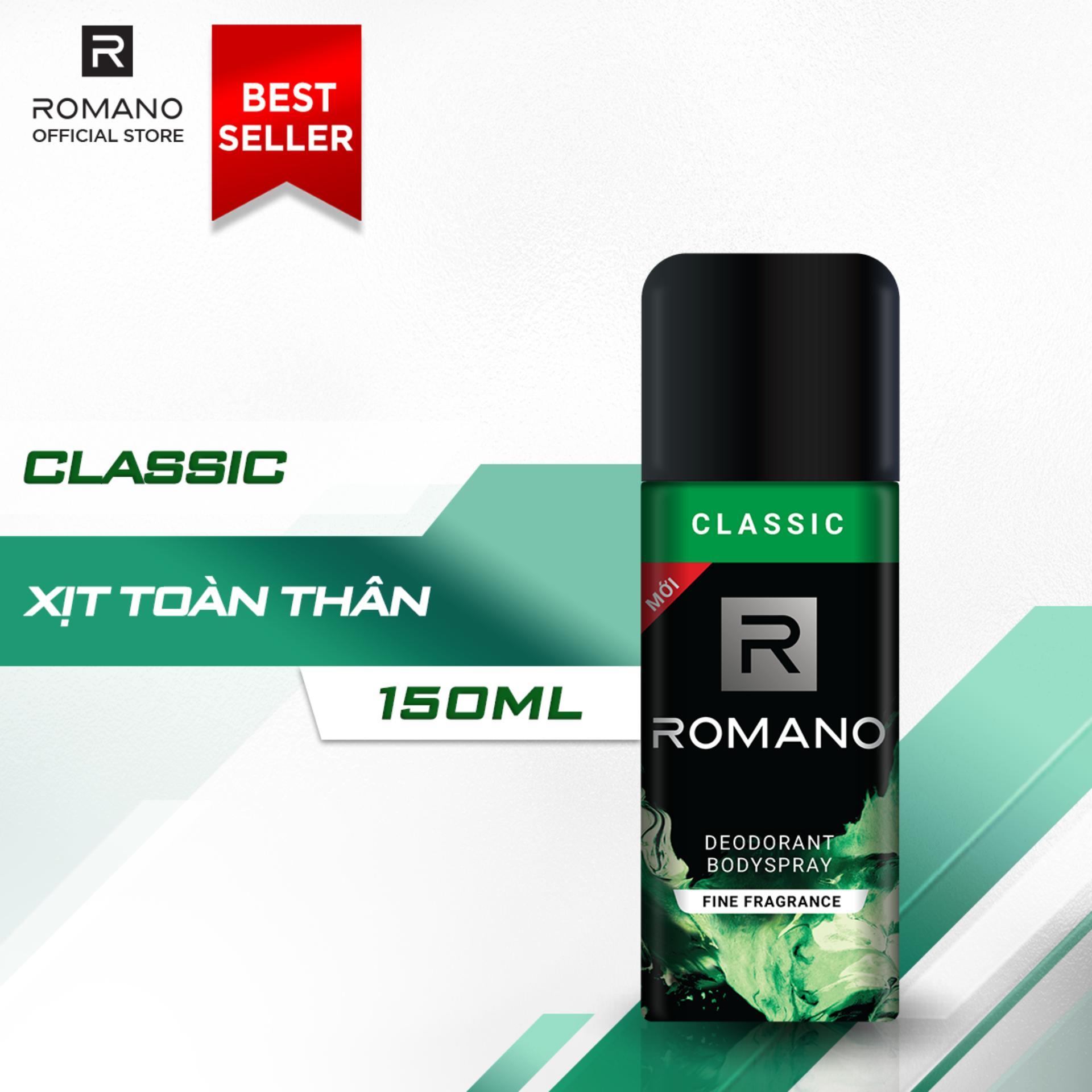 Xịt khử mùi toàn thân Romano Classic 150ml cao cấp