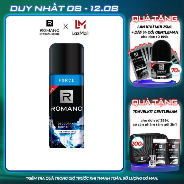 Xịt khử mùi toàn thân Romano Force 150ml nhập khẩu
