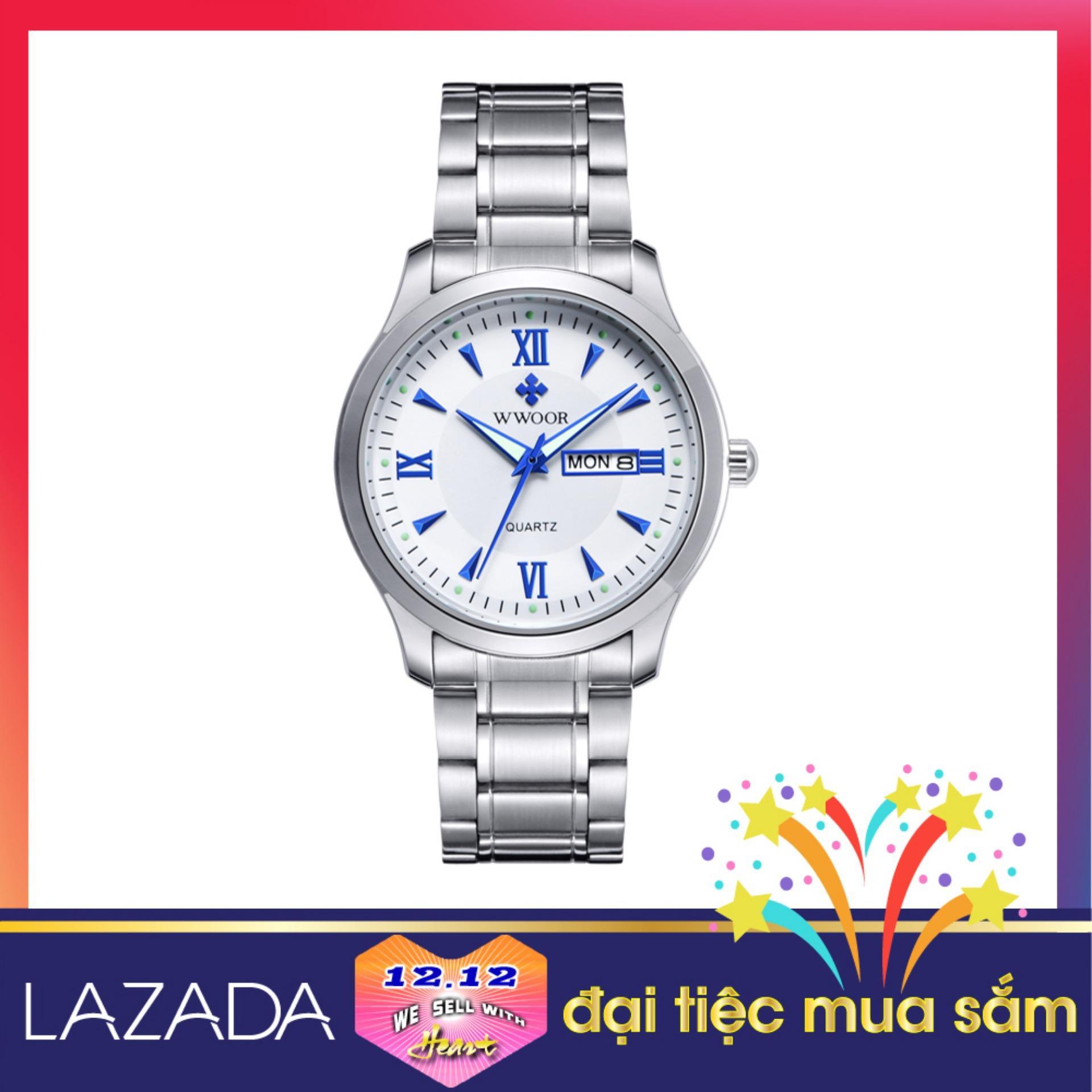 Đồng hồ thời trang nam WWOOR 8821 (Trắng) dây thép sang trọng và thanh lịch, tặng kèm pin đồng hồ đeo tay SONY 626 JAPAN bán chạy