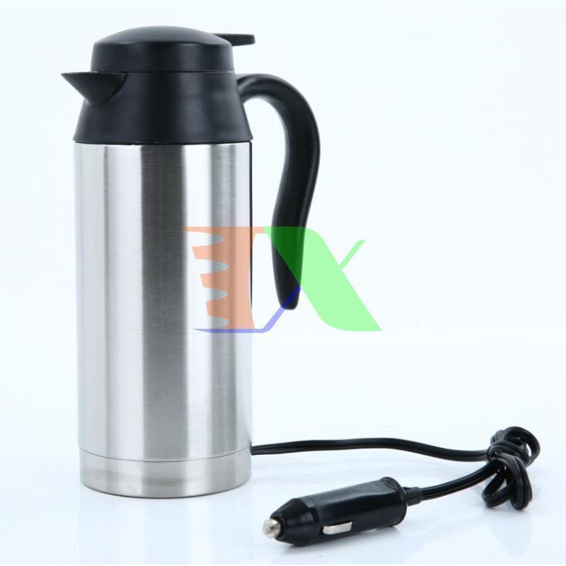 Bình đun nước trên ô tô BN1-750 ml Điện 24V, Ấm siêu tốc trên xe hơi, Phích giữ nhiệt 2 lớp Inox 304 ( Đầu chuyển 24V)