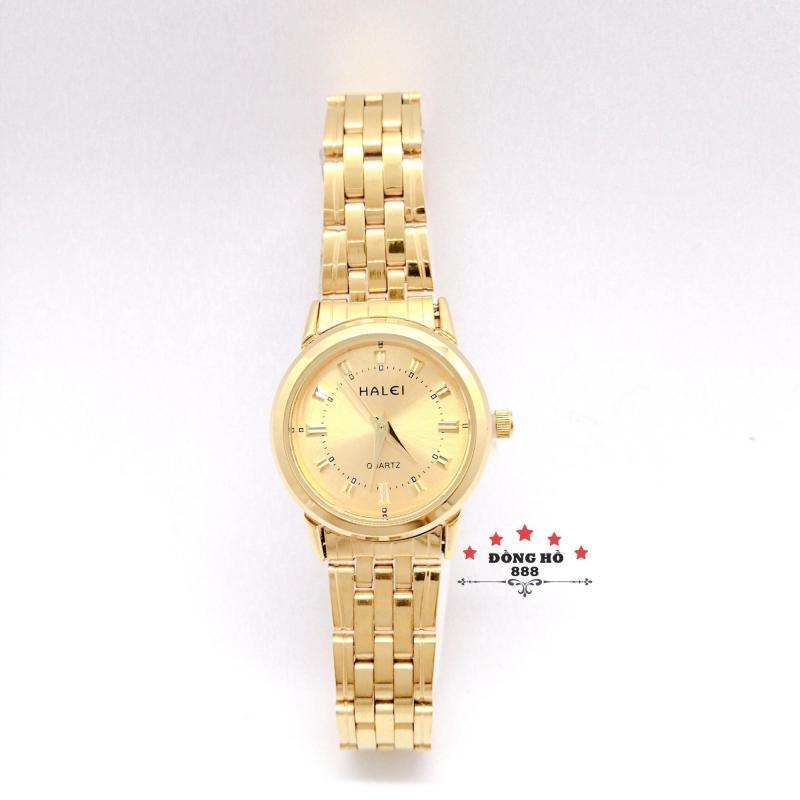 Đồng hồ nữ HALEI dây kim loại thời thượng ( HL502 dây vàng mặt vàng ) - Kính Chống Xước, Chống Nước Tuyệt Đối, Mạ PVD Cao Cấp Chống Gỉ Chống Phai Màu Thời Trang Hottrend 2020