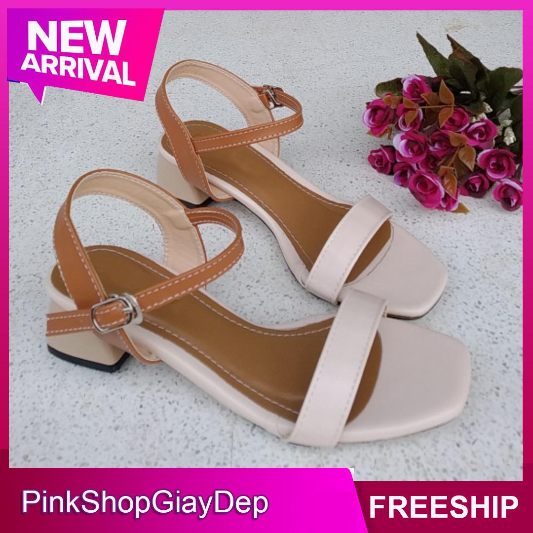 (Miễn ship) Giày sandal cao gót PinkShopGiayDep 3 phân gót bầu độc đáo phối màu thời trang - SB