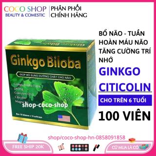 [CHÍNH HÃNG] - Hoạt huyết dưỡng não Ginkgo Biloba 240mg - GIÚP BỔ NÃO, TĂNG CƯỜNG LƯU THÔNG HUYẾT MẠCH - HỘP XANH LÁ - HỘP 100 VIÊN chuẩn GMP thumbnail