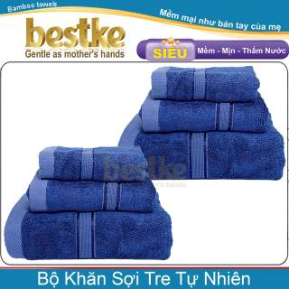 Combo 2 Bộ 6 khăn sợi tre tự nhiên bestke, bamboo towels dark blue_2 khăn tắm 60 120cm_2 khăn gội 35 75cm_2 khăn mặt 30 50cm, Trọng lượng 540g bộ thumbnail