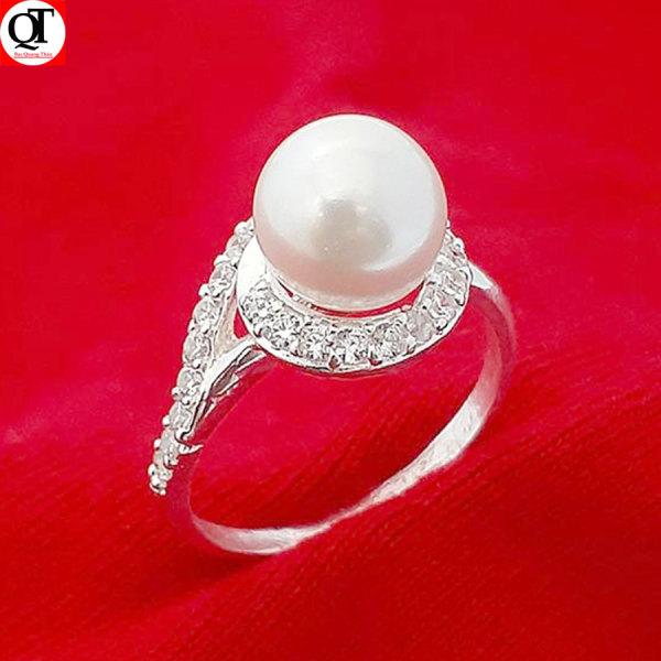 Nhẫn nữ ngọc trai nhân tạo size 8ly chất liệu bạc thật không xi mạ trang sức Bạc Quang Thản - QTNU69