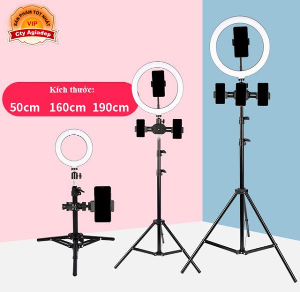 Tripod gậy chụp ảnh quay phim Livestream siêu xịn LED 3 màu, 4 kẹp điện thoại, cao 190cm (3 CHÂN)