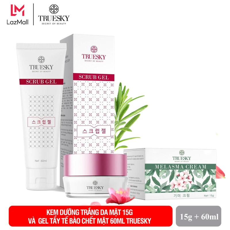 Bộ sản phẩm giảm nám da mặt Truesky V02 gồm 1 kem giảm nám da Melasma Cream 15g và 1 gel tẩy tế bào chết Scrub Gel 60ml