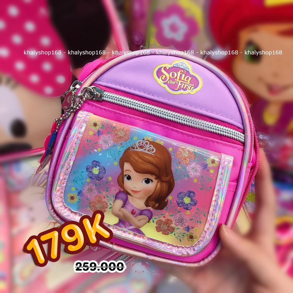 Giá bán Túi đeo chéo hình công chúa Sofia nhiều hoa 3 ngăn bầu màu hồng tím cho bé gái (Thái Lan) - 270SFNG2026149 - (14x5x14cm)