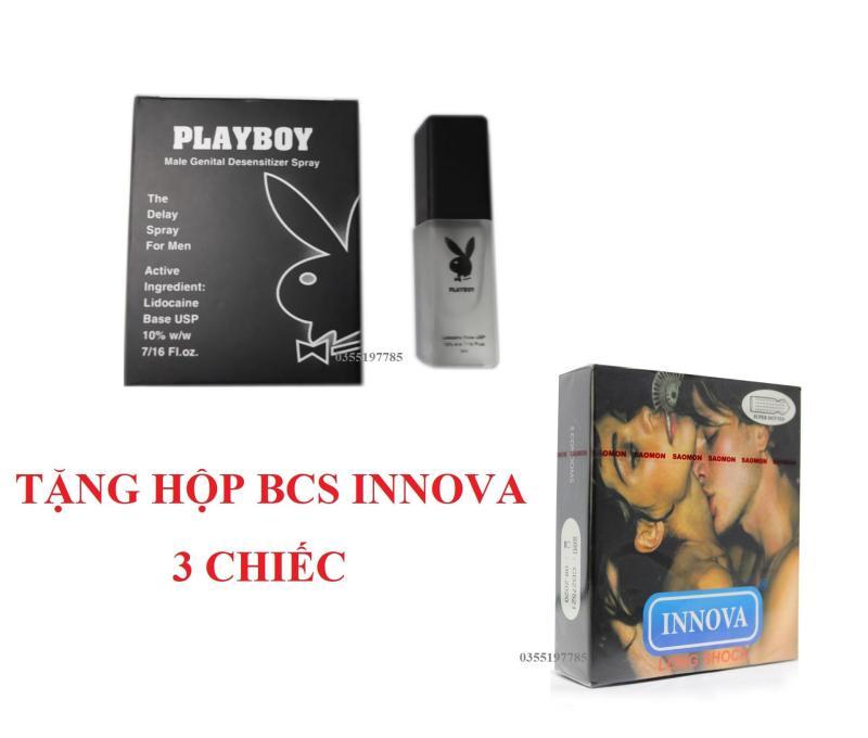 Bộ 1 Chai xịt kéo dài thời gian quan hệ Playboy + 1 hộp bcs Innova 3 cái nhập khẩu