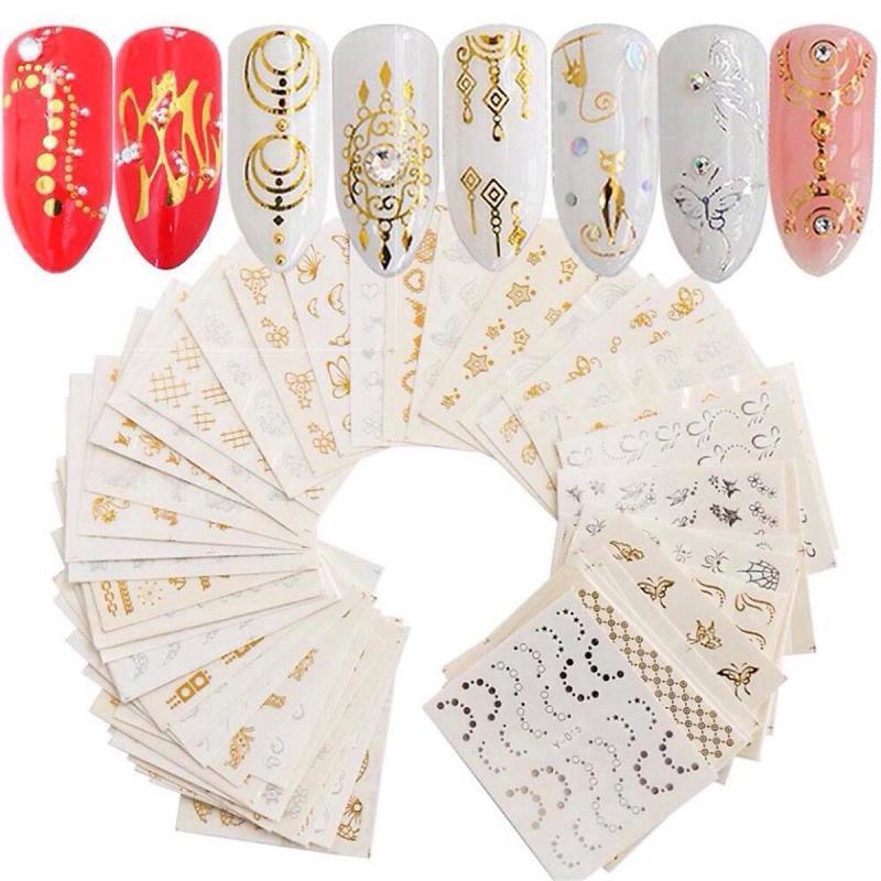 Bộ 10 tấm sticker dán móng tay nghệ thuật Nail art màu vàng kim siêu đẹp (200-300 hình mẫu) -  dụng cụ làm nail tại nhà với decal dán đơn giản rẻ đẹp