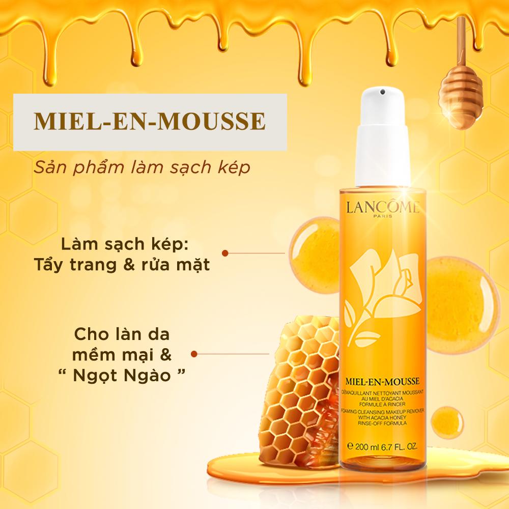Sữa rửa mặt và tẩy trang Lancome Miel-En-Mousse 200ml