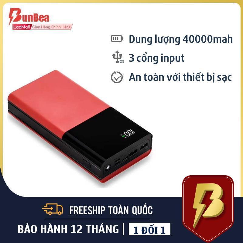 Pin Sạc Dự Phòng Dung Lương Siêu Khủng 40000mah, đảm bảo chất lượng,3 cổng input iphone, micro usb, type c 2 cổng output, có đèn pin chiếu sáng