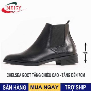 Giày nam Chelsea boot cao cổ MEICY, giày được làm từ da bò thật giống giày mọi nam, giày lười nam trơn và không nhăn màu đen - GCS106 thumbnail