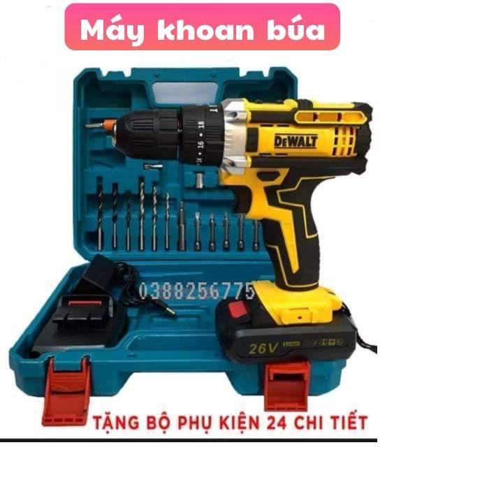 Máy khoan pin có BÚA dewalt 26v. (kèm 2pin và nhiều phụ kiện) bảo hành 12 tháng
