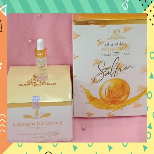 Combo Kem body collagen x3 luxury, tắm trắng collagen x3 mix saffron và Serum kích trắng Sakimy (Chính hãng)