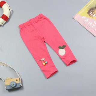FQ1004 - Quần Legging Bé Gái Màu Trơn Thêu Trái Cam Và Lơ Xinh Xắn ( quần áo trẻ em xuất khẩu ) thumbnail