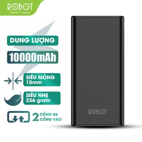 Sạc dự phòng ROBOT RT170 10000mAh thiết kế nhỏ gọn 2 cổng USB và 2 cổng Micro Type-C tặng dây sạc Micro - Hàng chính hãng