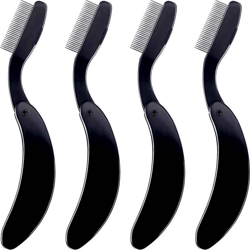 4 Packs Folding Eyelash Comb, Stainless Steel Teeth Eyebrow Comb Lash And Brow Makeup Brush (Black) cao cấp