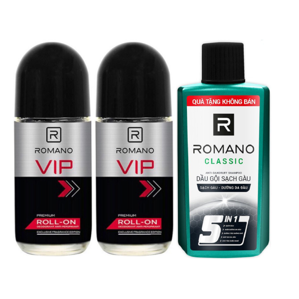 Combo 2 Lăn Khử Mùi cho Nam Romano VIP(50ml*2)+Tặng dầu gội 60gr