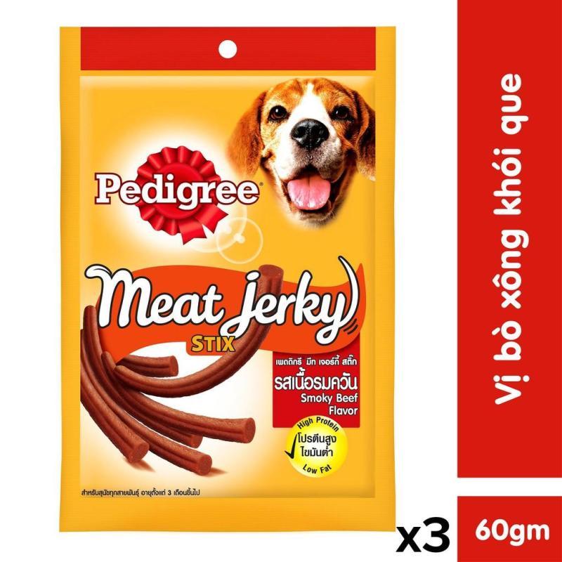 Bộ 3 thức ăn vặt cho chó Pedigree Meat Jerky vị bò xông khói dạng que 60g