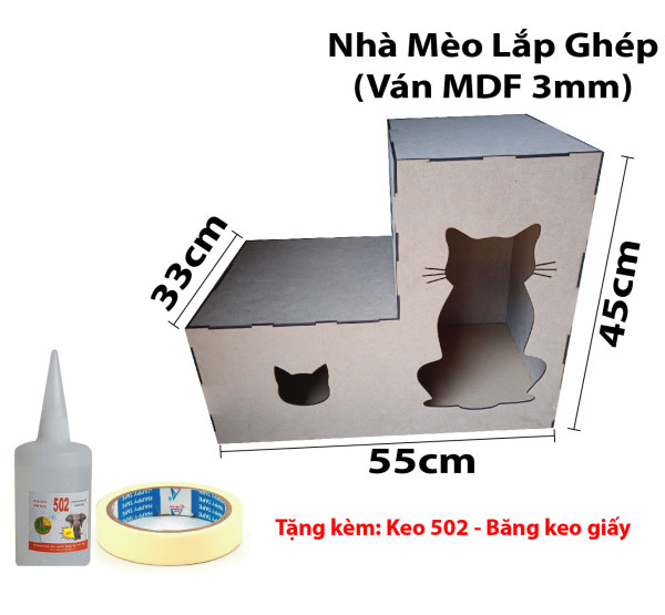 Nhà Cho Mèo Bằng Gỗ Lắp Ghép Cao cấp
