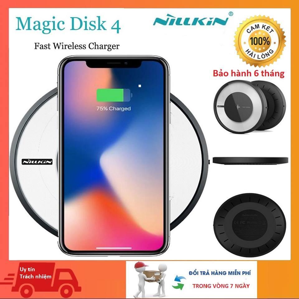 Đế sạc không dây Nillkin Magic Disk 4 - Hỗ trợ sạc nhanh và sạc thường chuẩn QI quốc tế - Có chế độ thay đổi màu sắc ánh sáng