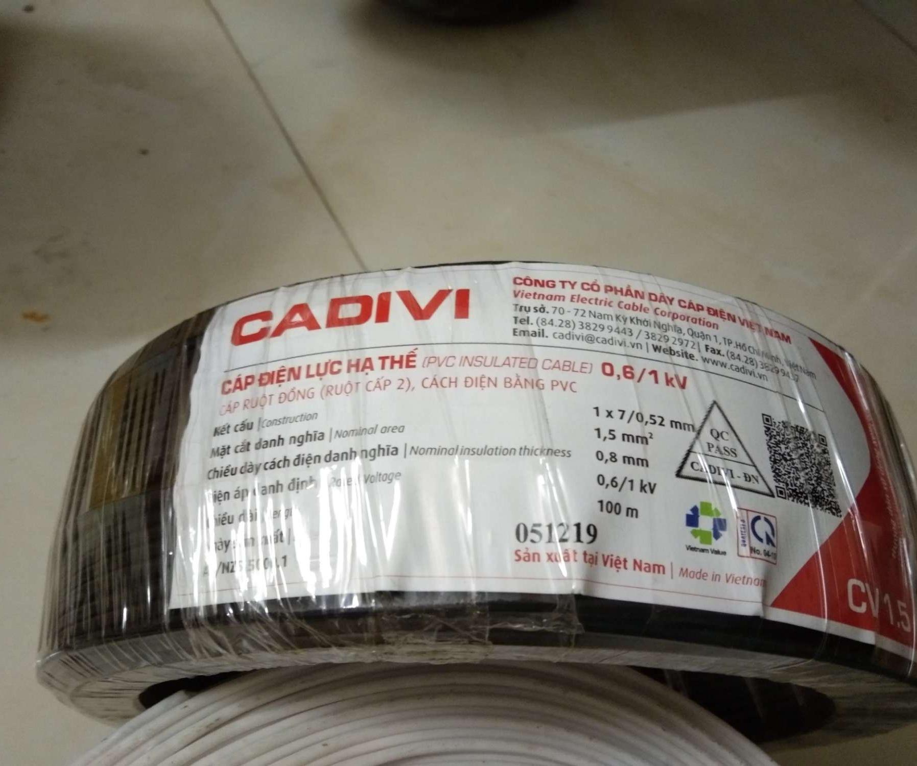 dây điện 1.5 cadivi cuộn 100m