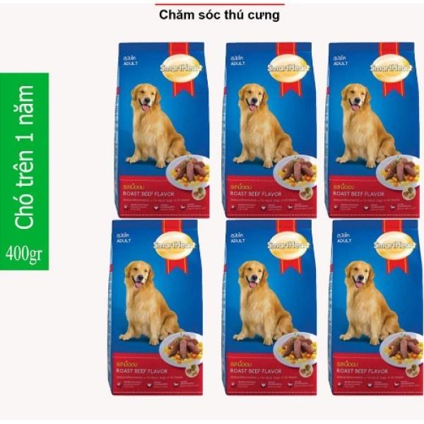 HN-(Combo 6 gói) thức ăn  dạng hạt cao cấp Smartheart Adult (dành cho chó trên 1 năm tuổi) - mỗi gói 400g (hanpet 2