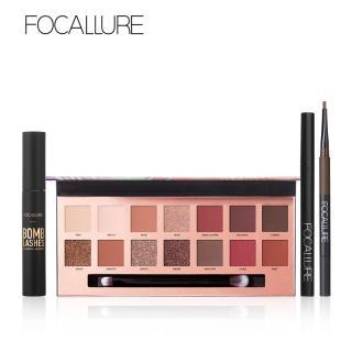 Bộ 4 sản phẩm trang điểm FOCALLURE gồm bảng phấn mắt 14 màu có cọ 2 đầu + mascara + chì kẻ lông mày + bút kẻ mắt nước thích hợp làm quà tặng dành cho phái nữ - INTL thumbnail