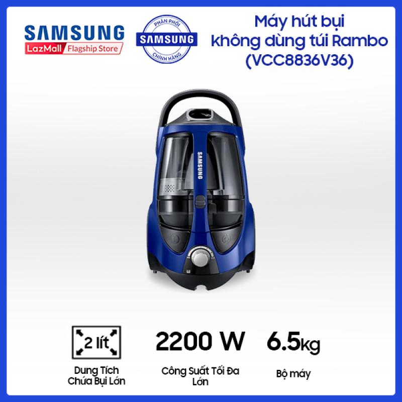Máy Hút Bụi Samsung không dùng túi Rambo (VCC8836V36/XSV) - Hộp Chứa Bụi Ngăn Đôi Ưu Việt - Công suất tiêu thụ 2200W - Lực hút 430W - Dung tích chứa bụi 2L - Hàng phân phối chính hãng.