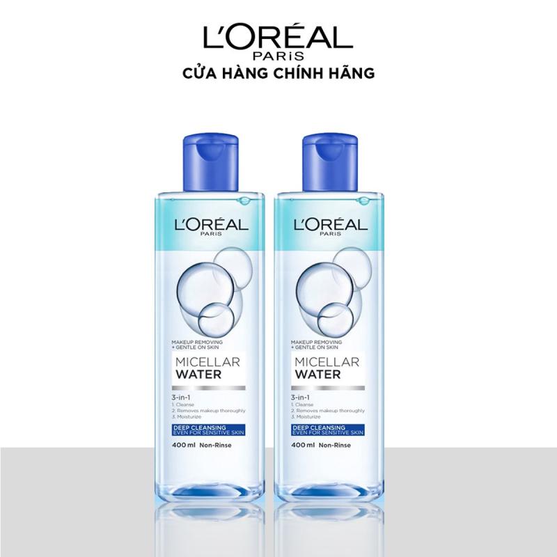 Bộ 2 nước tẩy trang đa năng 3-in-1 làm sạch sâu LOreal Paris Micellar Water (xanh dương đậm) giá rẻ