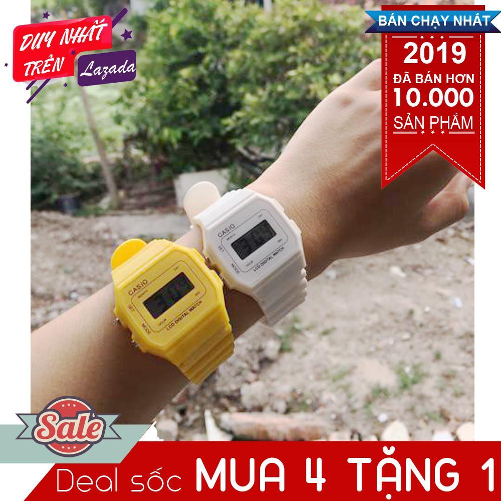 Đồng hồ điện tử Unisex đa sắc màu dây cao su chống nước (mua 4 tặng 1) Nhật Bản