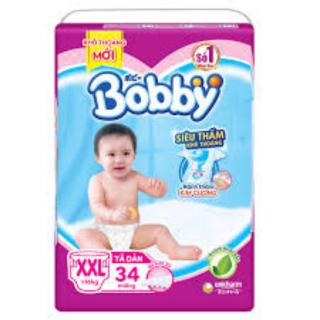 [TẶNG KHĂN ƯỚT]Tã Dán Bobby Siêu Thấm XXL34 Êm Mềm Thấm Hút Tối Đa Cho Bé Từ 14kg Đến 20kg thumbnail