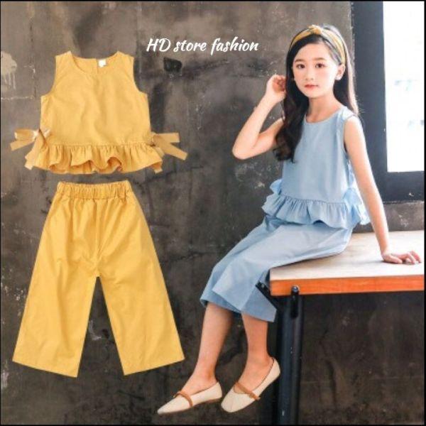Giá bán set đồ bộ bé gái cộc tay quần lửng chất vải mát 5 - 14 tuổi 0049